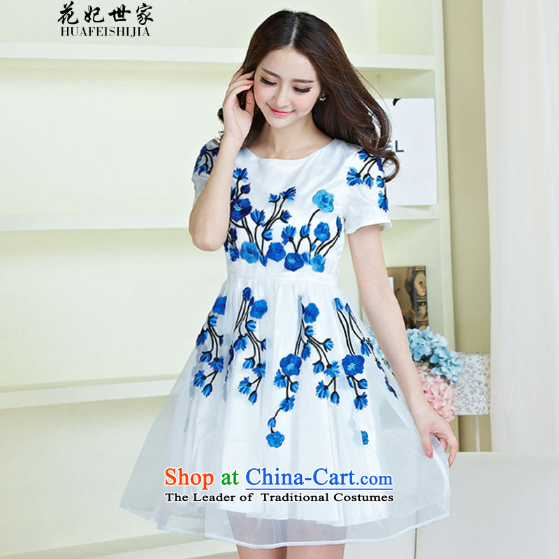 Take concubines and summer family new women's dresses porcelain embroidery the lace Korean yarn short-sleeved 263605090 generation blue?M