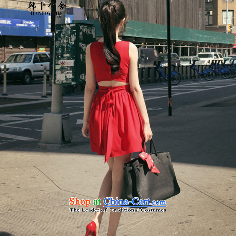 Korea also esher� fragmented Korean sexy video thin Sau San sleeveless tank skirts terrace foutune chiffon dresses 325A900533 complaints RED�M