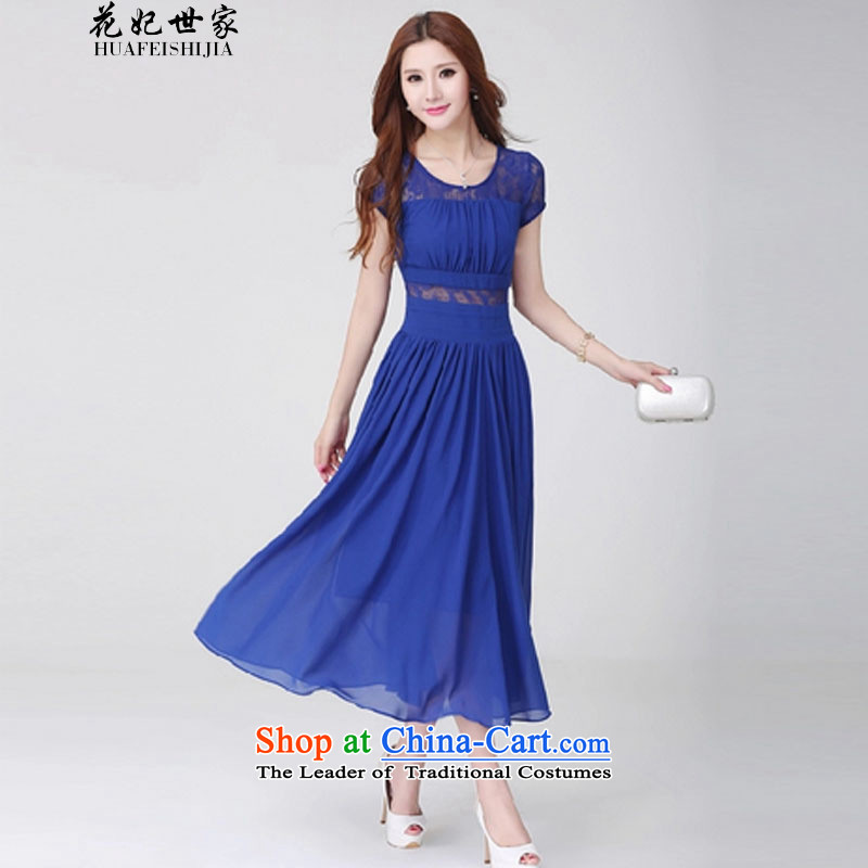 Take concubines saga and the chiffon dresses Bohemia large skirt short-sleeved lace engraving skirts and 339332250 Blue�M