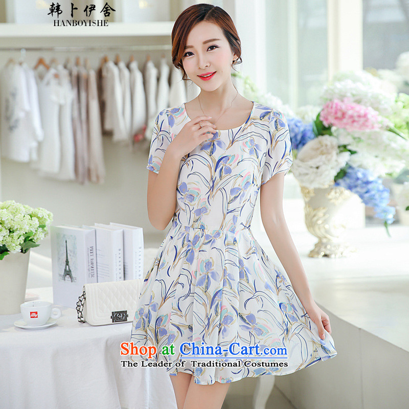 Korea Pu esher� fragmented new summer, Sau San short-sleeved floral chiffon dresses Nu Tou 40881335 white�S