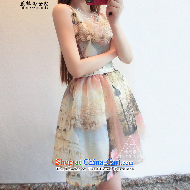 The introduction of the euro, Saga Furs of rain petals root yarn stamp short skirt vest skirt Fashion aristocratic dresses and 324824825 suit L