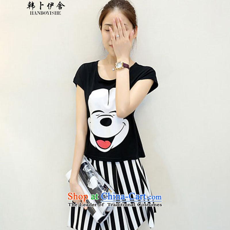 Korea Pu esher? fragmented summer Mickey stamp streaks short skirt two complaints 325A99130 Kit Black?XL