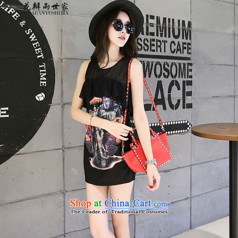 The family?  should be Korea rain let-down version of the billowy flounces dress summer female wild video thin vest skirt and 425510730 Black?M