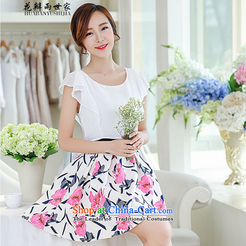 Rain family?  should be summer petals new Korean fake two Foutune of stamp chiffon dresses in 40880759 safflower?XL
