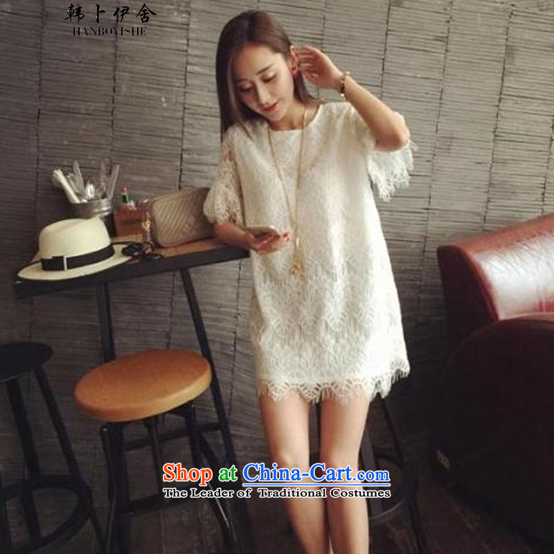 Korea Pu esher? fragmented summer new sweet eyelashes lace Korean loose short-sleeved dresses in long) 335A102338 White?XL