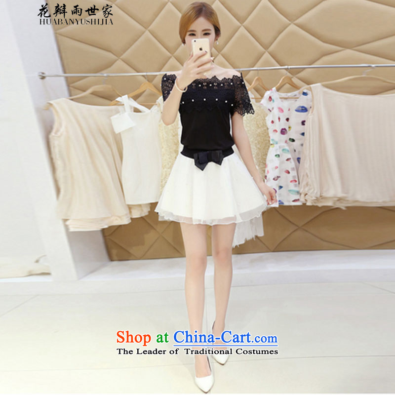 Saga?  ω一 petals rain field for sexy bare shoulders Korean wild T-shirt gauze bon bon short skirt kit and 425310740 Black?M
