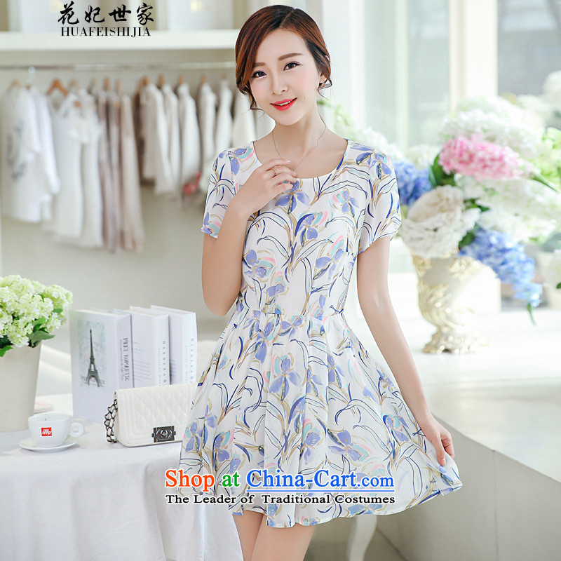 Take concubines and Korean Family Summer floral chiffon shirt, forming the T-shirt short-sleeved shirt dresses and 40881335 white?S