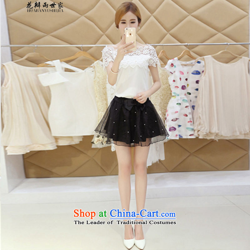 Saga 銇句竴 petals rain field for sexy bare shoulders Korean wild T-shirt gauze bon bon short skirt kit and 425310740 White聽XL