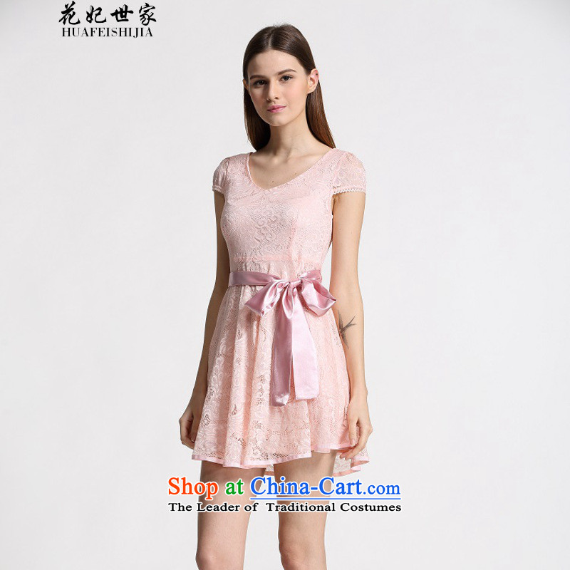 Take concubines and summer family new Korean version of Sau San lady dresses in long chiffon lace white?M of 339332930