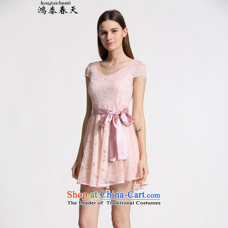 Hong Tai spring? �� summer new Korean version of Sau San lady dresses in long chiffon lace of 339332930 pink?L