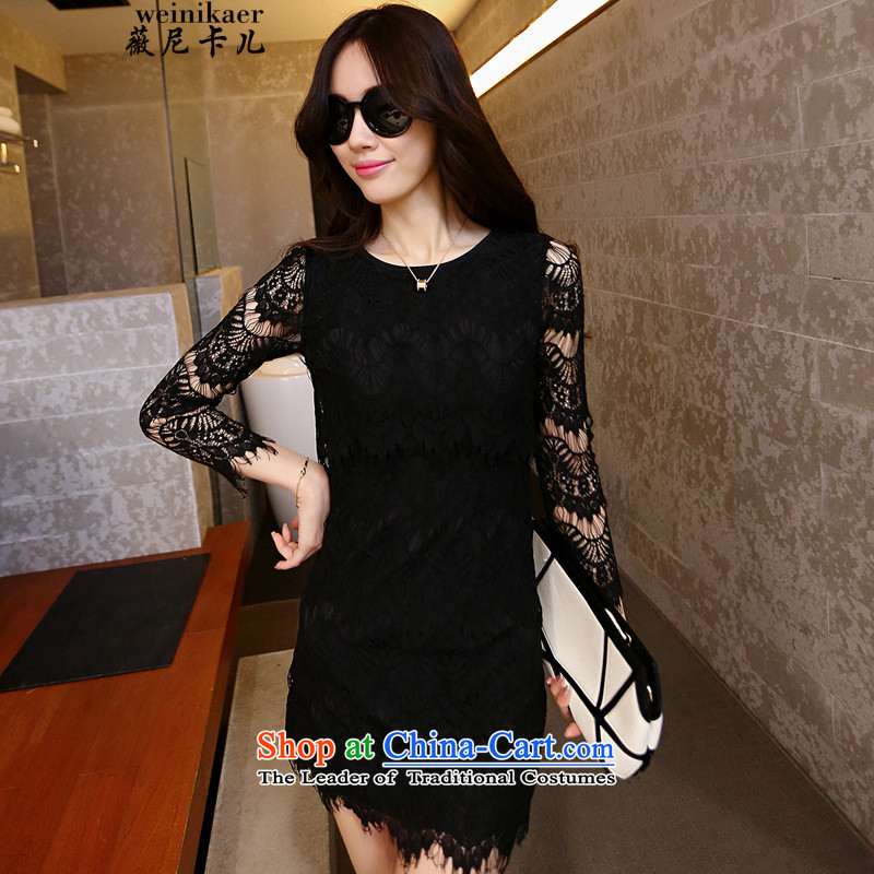Ms Audrey Eu and childcare faculty Korea hands Sau San hook to spend engraving lace dresses retro look sexy 425203345 complaints black?M