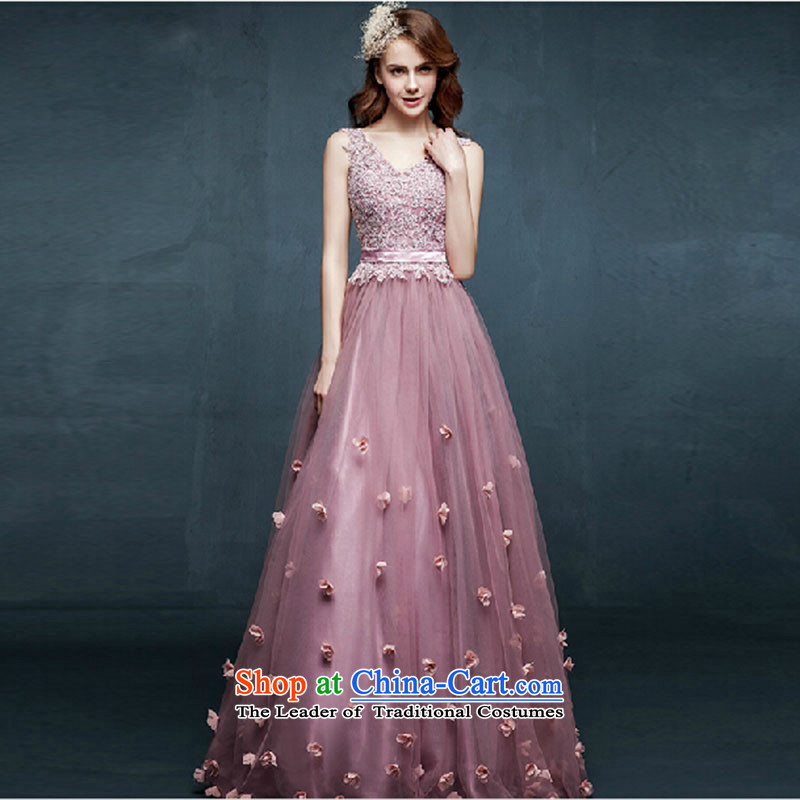 The new 2015 spring/summer long gown shoulders marriages bows to diamond jewelry bridesmaid evening dress the yarn color?M