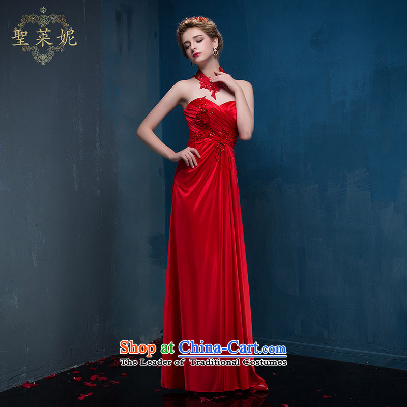 The Holy her in the summer and autumn 2015 new large graphics thin beautiful red satin dress bride bows show skirt Korean style red dress chest anointed S