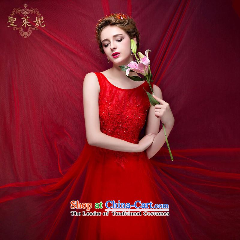 The bride her Korean gauze shoulders red wedding dress larger video thin large elegant align to long skirt Korean dresses evening dresses banquet redL