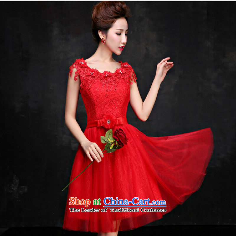 2015 Spring wedding dresses Bridal Services red word bows shoulder bridesmaid services summer gown female skirt red small made no refund is not shifting