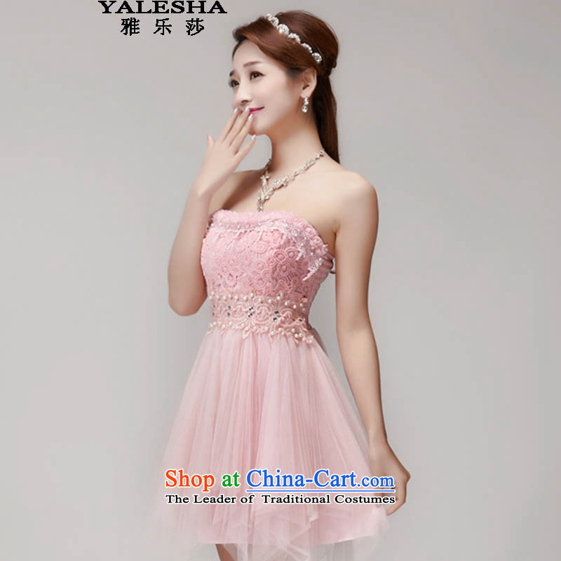 Janer sa? 2015 Summer stylish manually staple pearl diamond temperament and thin wall graphics Sau San dresses bridesmaid groups dress skirt pink?M