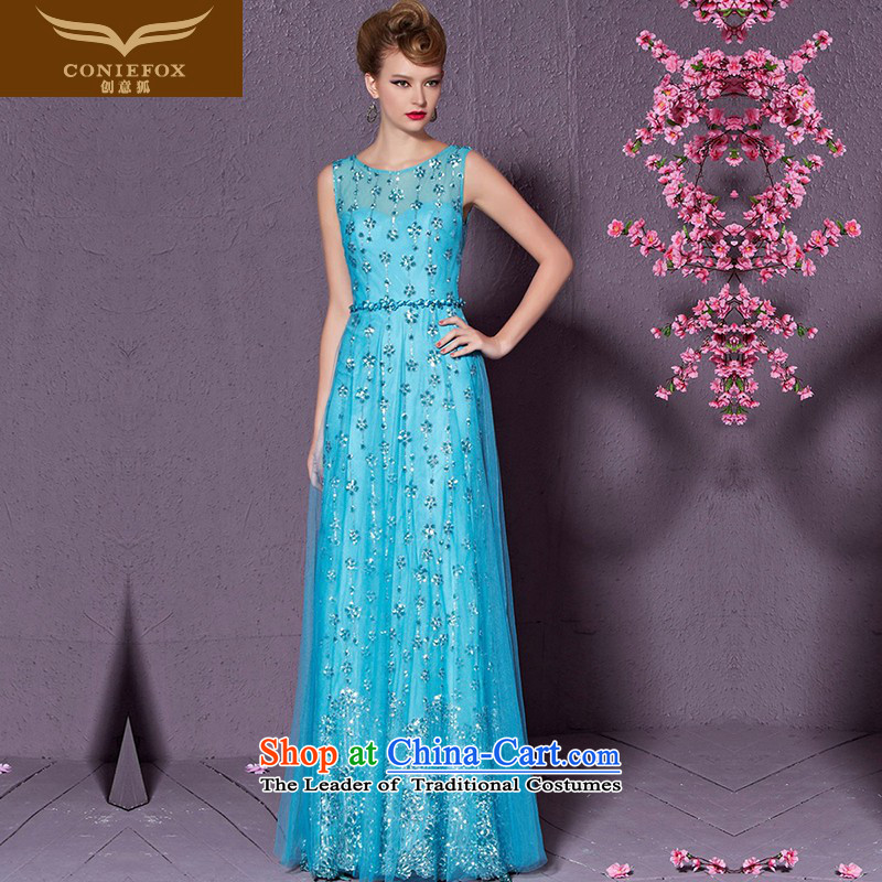 Creative Fox stylish shoulders banquet evening dresses evening drink service elegant long annual meeting of persons chairing the Sau San will dress red carpet dress 30901 blue?XXL