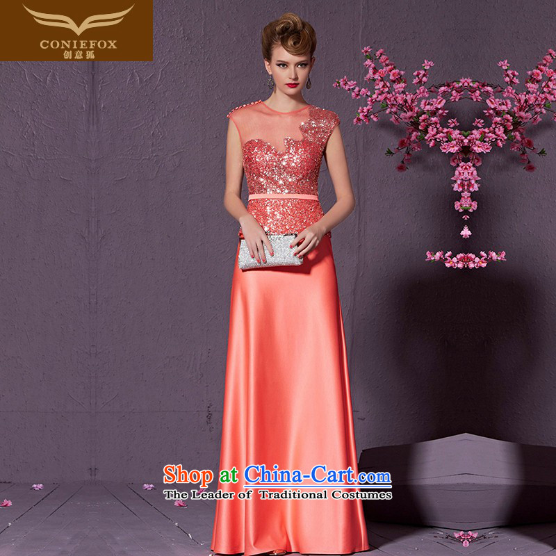 The kitsune style on-chip creative banquet hosted the annual dinner dress suit will elegant long bride wedding dress evening drink service 30902 red-orange聽L