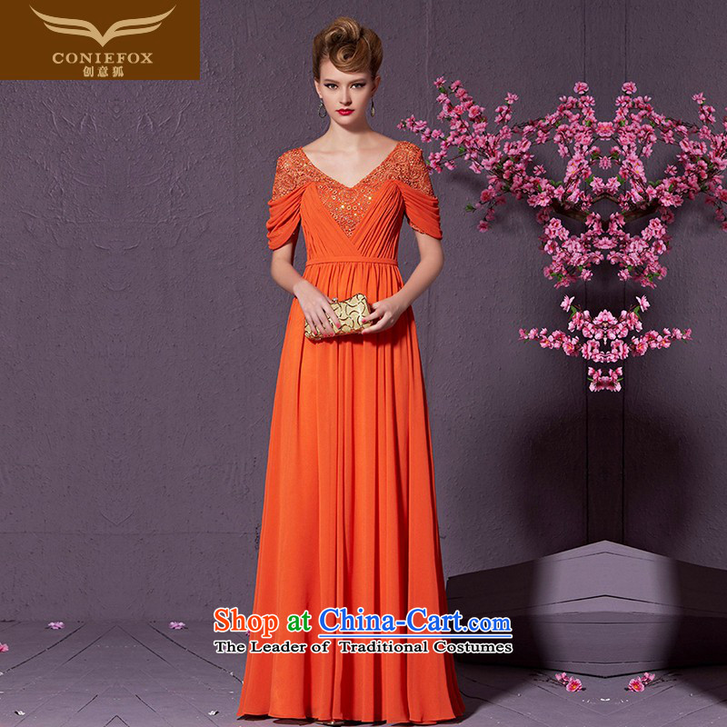 Creative Fox Sau San long banquet hosted the annual dinner dress suit will聽V-Neck video thin bridesmaid long skirt evening dress uniform 30909 bows orange聽XL