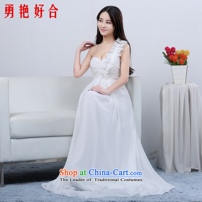 Yong-yeon close bridesmaid marriage evening dresses performances bows services shoulder evening long bride with new 2015 long white,?XL