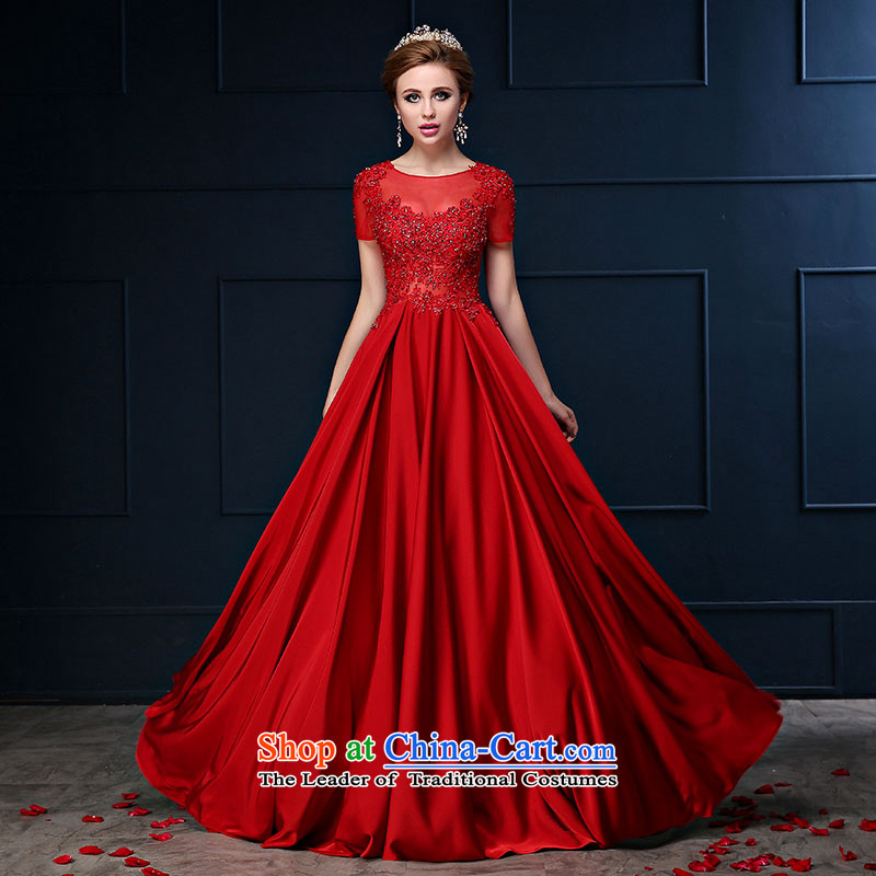 Toasting champagne bride services 2015 Spring/Summer new package shoulder long red large graphics thin marriage banquet dinner dress skirt deep red?S