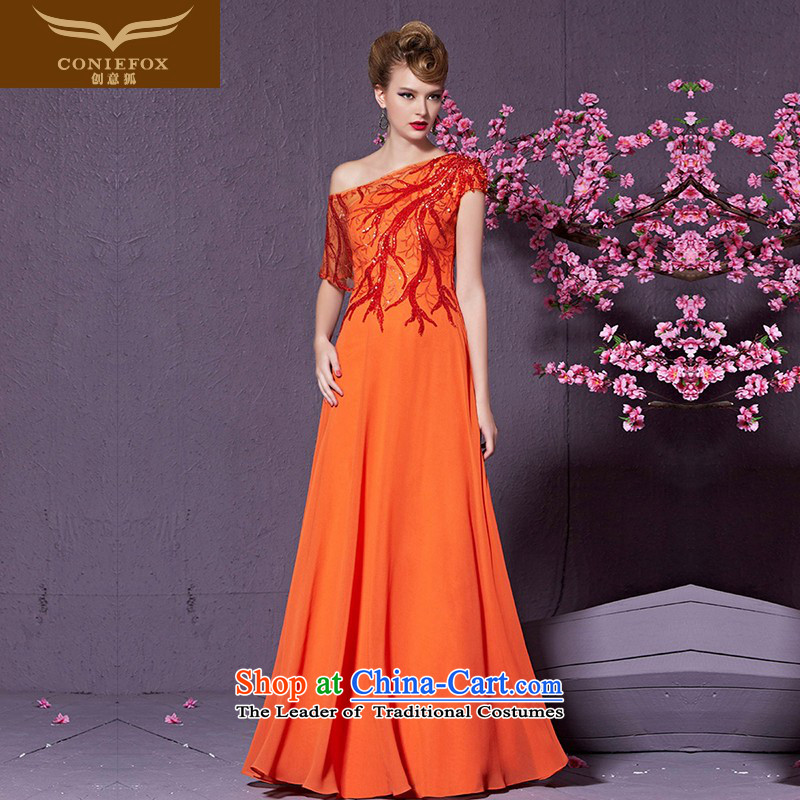 Creative?New 2015 FOX banquet evening dresses Female dress long bridesmaid dresses and stylish Sau San Beveled Shoulder evening drink service?30910?orange?M
