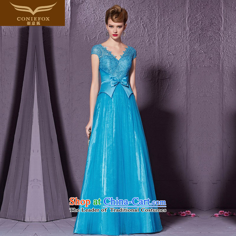 Creative�New 2015 Fox Blue V-Neck banquet dinner dress bow tie back evening dress bows services under the auspices of the annual dress 30911 Blue�M