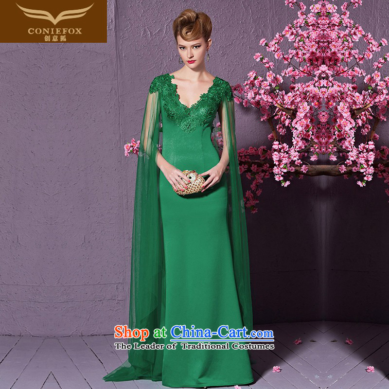 Creative Fashion shawl cuff fox banquet evening dresses Sau San V-Neck long serving under the auspices of the annual concert dress marriages bows 30919 services green S