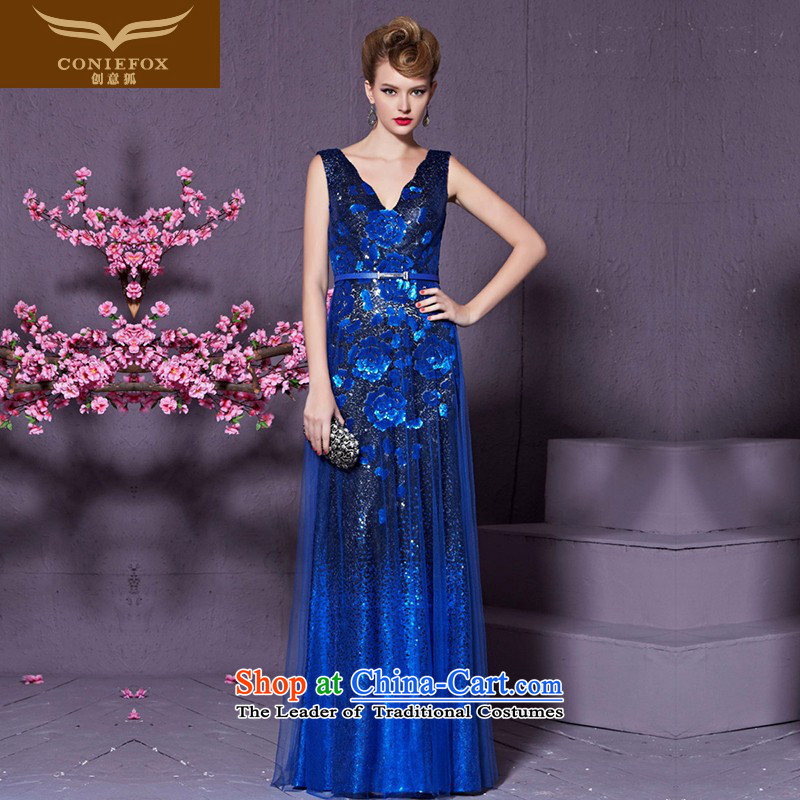 Creative Fox blue shoulders banquet evening dresses? V-Neck long marriage services under the auspices of the Sau San stylish bows will evening dress long skirt 30920 blue?S