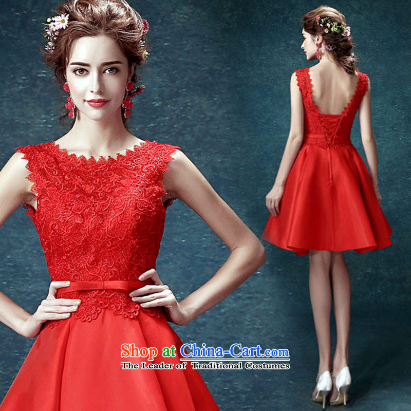 Evening dress new summer 2015 short, banquet dresses dress girl brides bows to marry a stylish field shoulder RED?M
