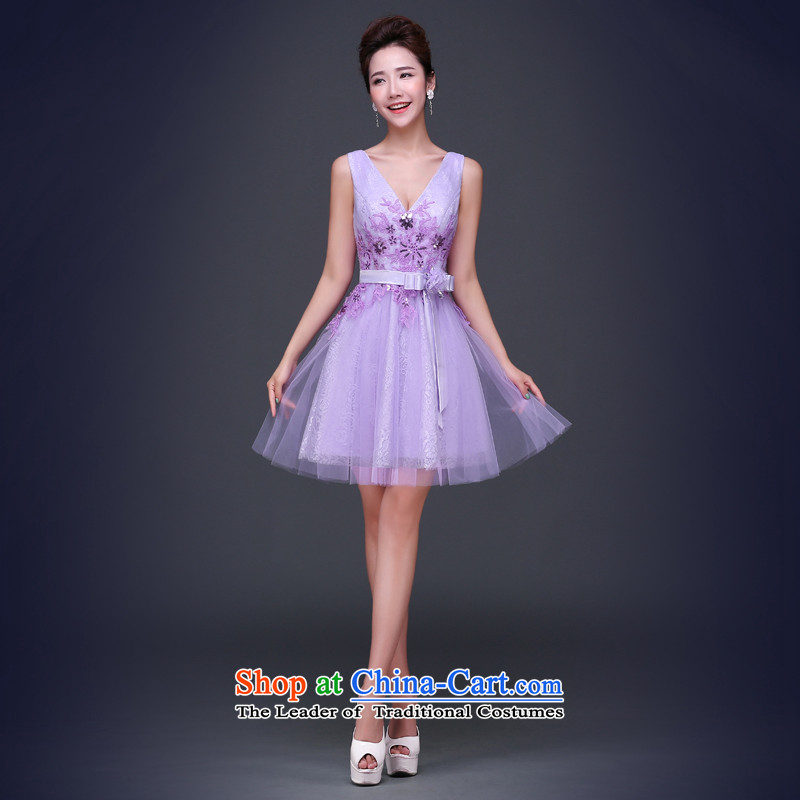 Jie Mija Evening Dress Short, 2015 NEW Summer purple shoulders V-Neck bridesmaid to serve small dresses skirts and sisters betrothal festival female light purple?XL