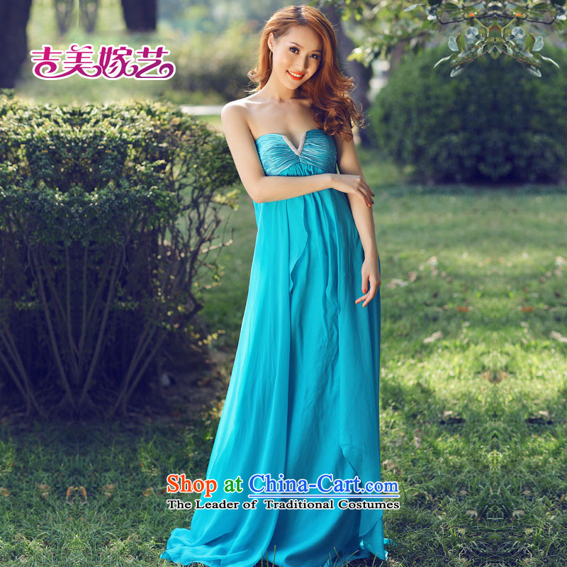 Wedding dress Kyrgyz-american married new anointed arts 2015 Chest Korean dress to align the bride dress green?S LS895V
