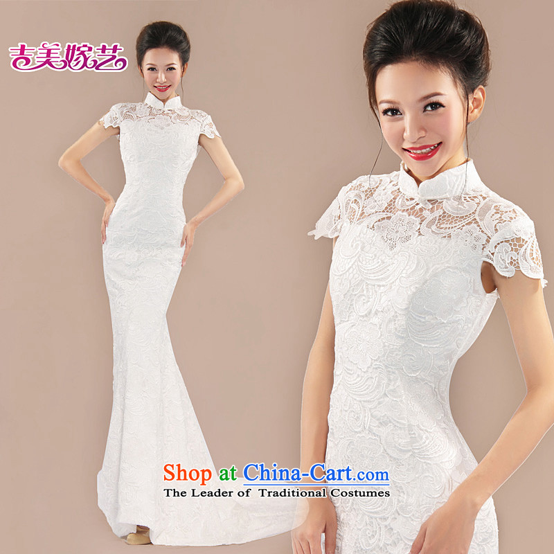 Lace wedding dress Kyrgyz-american married arts new 2015 back to align the Korean bridal dresses LT6052 tail zipper�XL