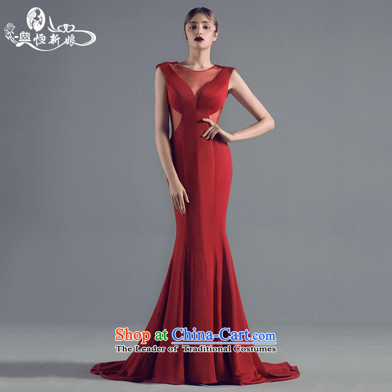 Noritsune bride evening dresses 2015 New banquet sexy fluoroscopy crowsfoot aristocratic dress bride wedding dress red Custom Level evening dresses red?S