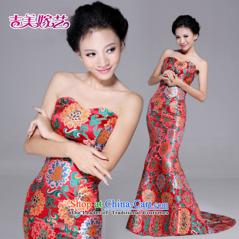 Wedding dress Kyrgyz-american married new anointed arts 2015 chest qipao tail crowsfoot QP6017 qipao gown RED�M Bride