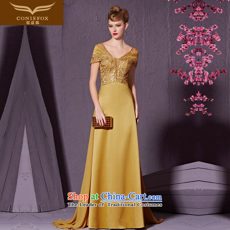 Creative Fox evening dress long stylish package shoulder banquet evening drink services under the auspices of the annual session will dress tail bride wedding dress 30923 Yellow?M