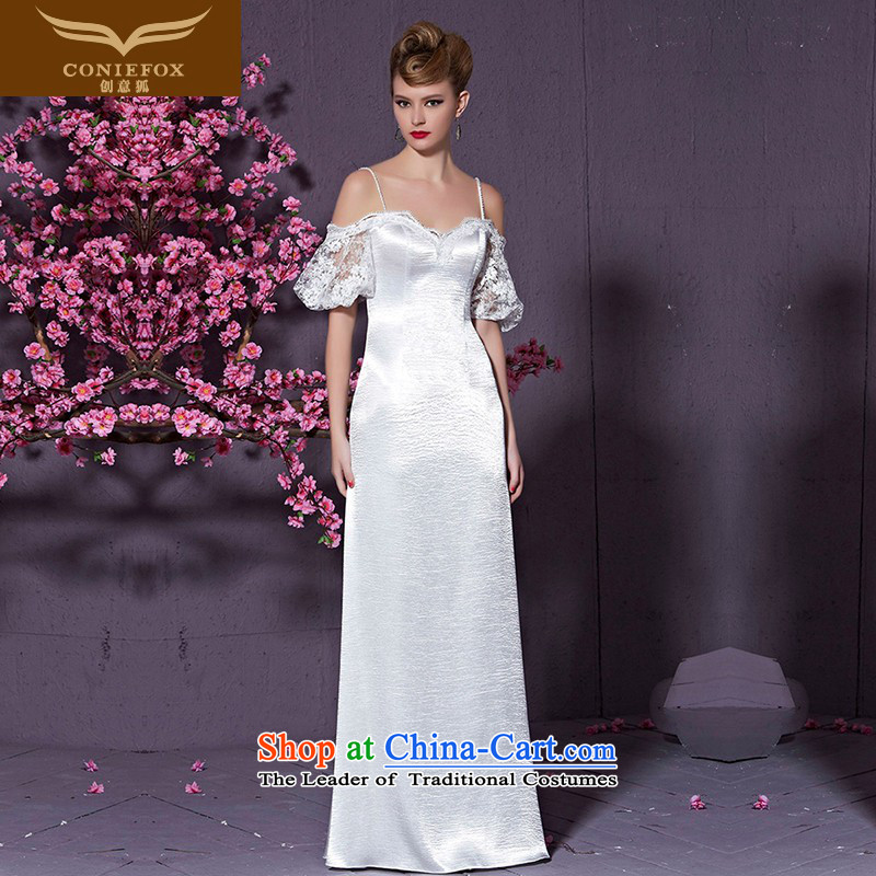 The kitsune white strap with creative and chest bride wedding dresses wedding dress to Sau San long evening dress bows services under the auspices of dress skirt 30928 White�M