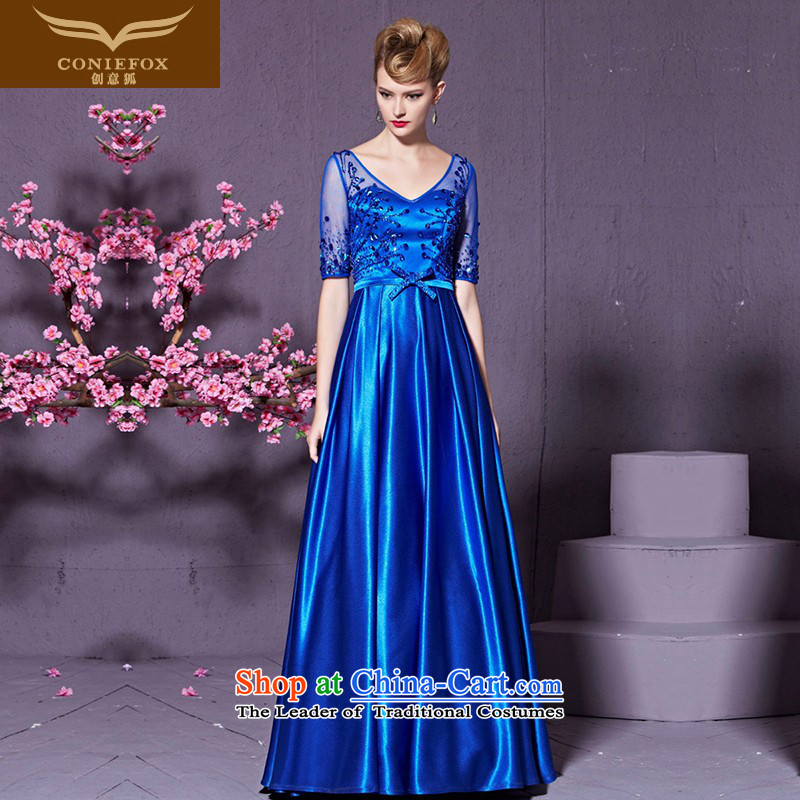 Creative Fox stylish V-Neck banquet evening dresses lei silk-screened by the long evening dress services under the auspices of the annual bows dress wedding dress skirt 30,929 investments amounting blue�XXL