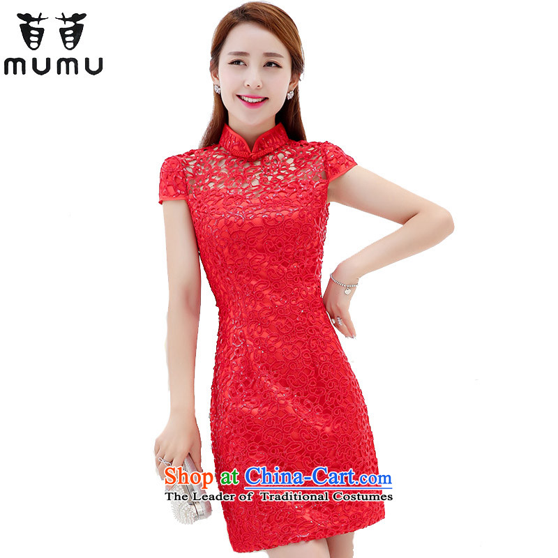 Summer dresses collar short-sleeved bows services, wearing a red languages Sau San video-wedding dresses qipao thin female red�XL