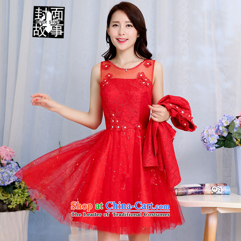 Cover Story 2015 new lace temperament + short skirt get dress jacket, two kits wedding bride back to large door onto marriage bows dress red�XL