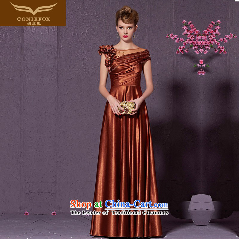 Creative Fox marriages bows service banquet long package shoulder evening dresses and stylish flowers of the Sau San annual evening dress dresses presided over�30930 skirt�brown�S