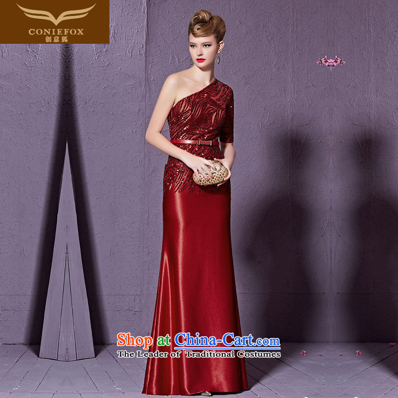 Creative Fashion shoulder dresses Fox Sau San long red marriages evening drink service Wedding banquet service video thin welcome dress skirt 30931 Red?L