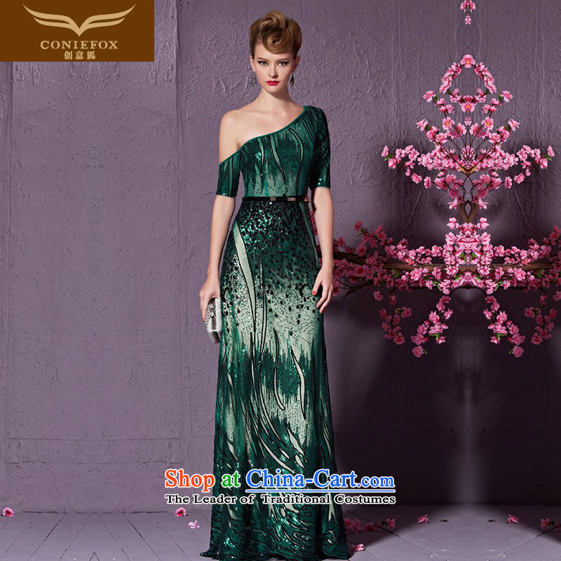 Creative Fox long elegant shoulder evening dresses and stylish light slice will preside over dress evening banquet service gathering followed suit long skirt 30933 green?L