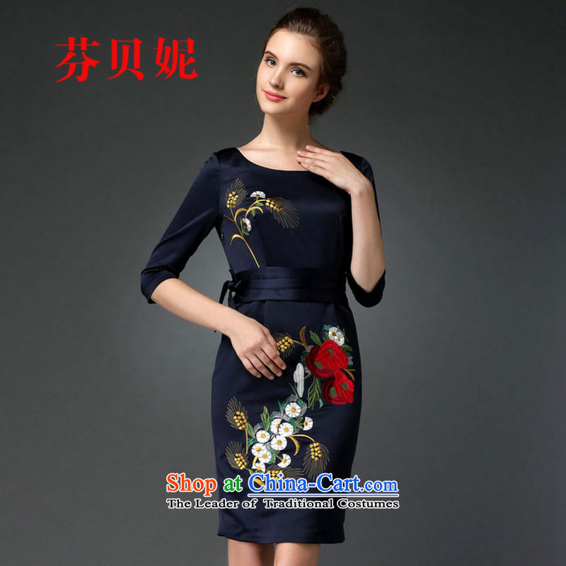 Leung Pui Connie 2015 Autumn New Noble, dinner dress cheongsam dress F0674 embroidery blue�2XL