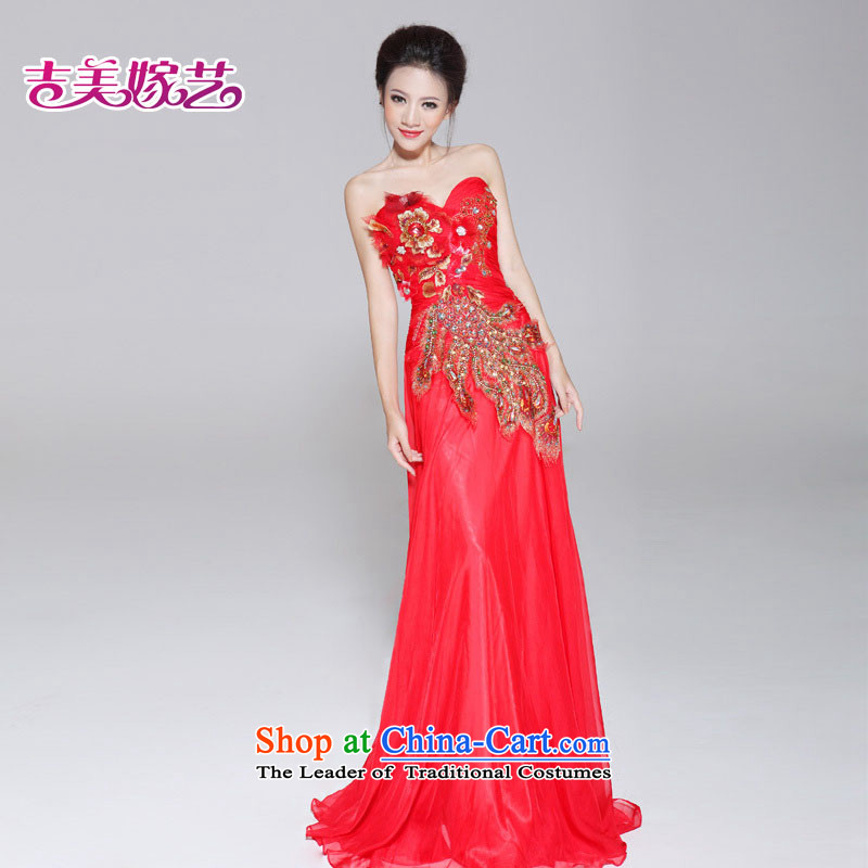 Wedding dress Kyrgyz-american married Korean version of the new arts princess?LT659 dress?anointed chest video thin tail bridal dresses Red?2