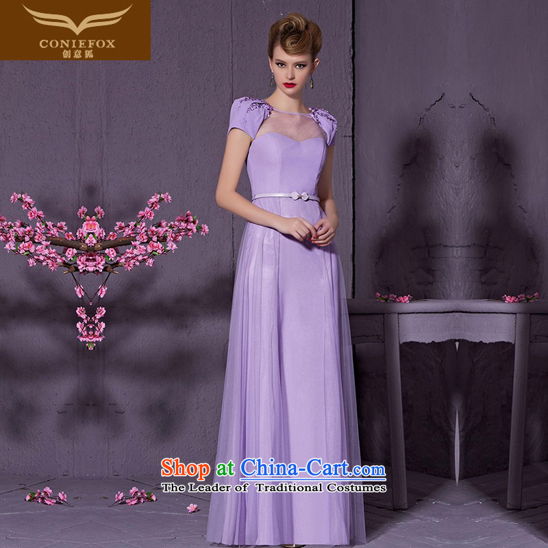 Creative Fox purple elegant shoulders bride wedding dress evening banquet dress bows services under the auspices of Sau San dress will long skirt 30950?S Light Violet