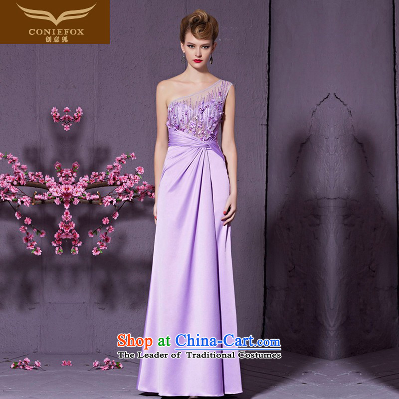 Creative Fox purple shoulder marriages bows elegant long service banquet hosted performances evening dress dress long skirt Vehicle Exhibition Exhibition dress 30951 light purple M
