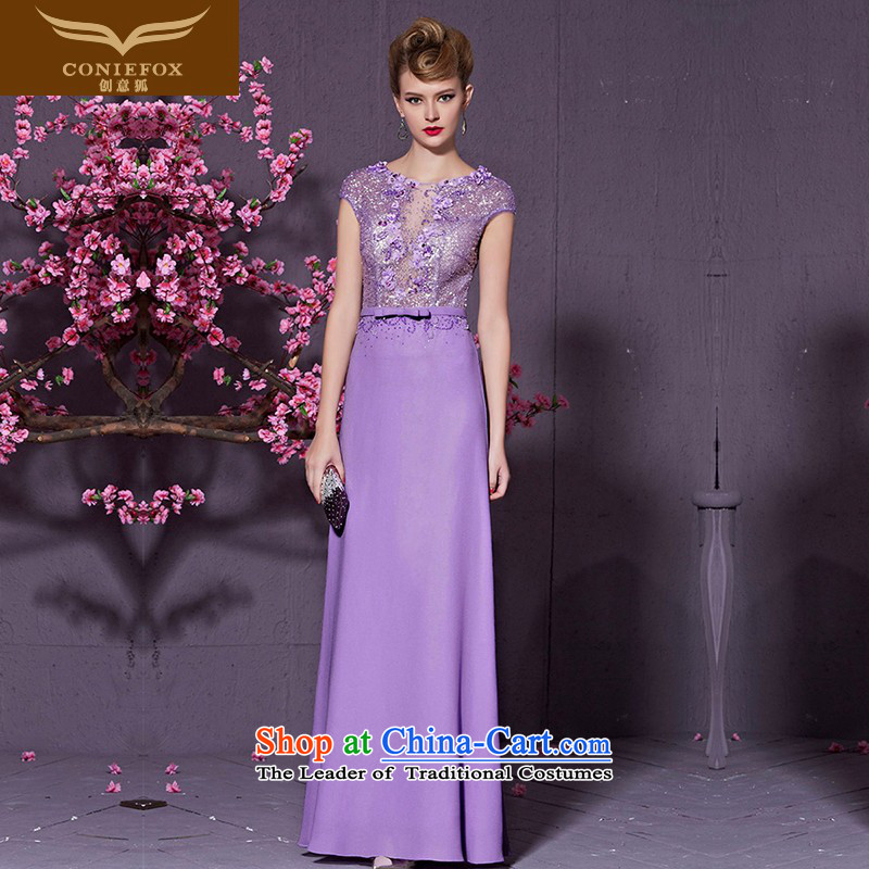Creative Fox purple elegant banquet dress diamond stylish shoulders long evening drink service bridal dresses wedding dress presided over long skirt 30953 light purple M
