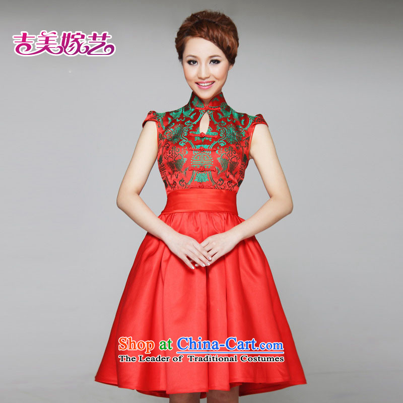 2015 new kiyomasa bride wedding dresses improved short small L631) Bride dress RED?M