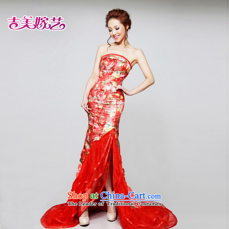 2015 new Kyrgyz-US married arts wedding dresses improved dress LT632 bride dress red?XL